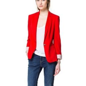 Zara holiday red roll up cuffs blazer lightweight